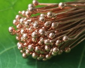 Solid Copper Headpins - Jewelry Making Supply - 2 Inch Balled Tip Headpin (30 pieces) 21g
