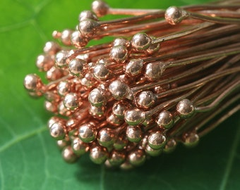 Solid Copper Headpins - Jewelry Making Supply - 3 Inch Balled Tip Headpin (30 pieces) 21g