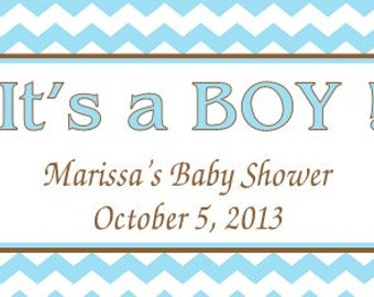 Blue  Chevron Baby Shower Candy Bar Wrappers- It's A BOY / Set of 24