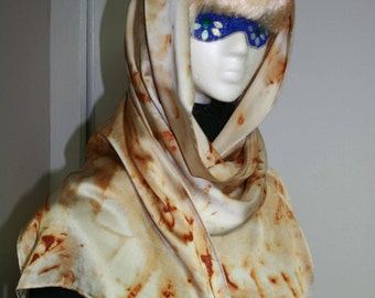 Rust Dyed Silk Charmeuse Scarf