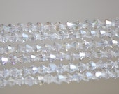 BiCone Beads 4mm Faceted Glass  Beads Transparent Clear AB -(LZ04-14)/ 110pcs