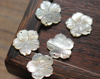 10pcs White Mother of Pearl Shell Flower Charms 28mm Large -V1149