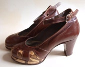 On hold for Marie until June 25th -- RARE CC41 1940s WW2 platform leather pumps shoes from UK size 7M