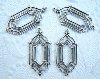 Antique silver plated Art Deco 2 ring connector earring drop, lot of (4) - JJ244