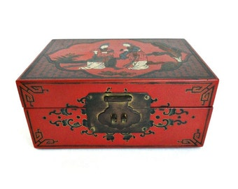 Vintage Asian Jewelry Trinket Box Red and Black, Engraved Geishas Brass Hinges Turquoise Interior/ Vintage Dresser Box//Japan