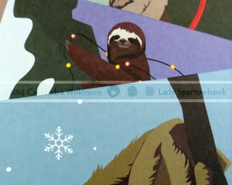 Preparing for the Season Sloth Christmas Cards set of 6