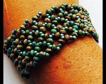 Green Wide Beaded Cuff Bracelet, Handmade Cuff Bracelet, Gemstone Bracelet, Spring and Summer Bracelet
