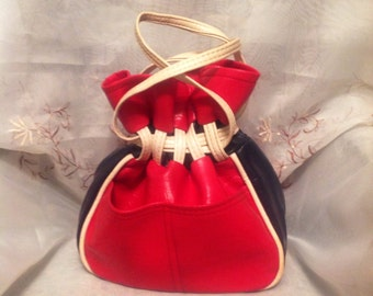 Vintage Handbag Tote 70s Tex- Made Classic Red/White/Blue Traditional Old Fashion Style