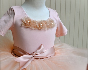 Girls white or pink short sleeved leotard-- with shabby chic chiffon blossoms in pink, ivory, white, vintage pink and more.