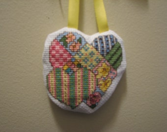 Cross Stitch Double Heart  Lavender Sachet With Yellow Ribbon Hanger