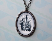 Handmade High Seas Necklace with Oval Clear Bubble Cameo Pendant with Vintage Illustration of Tall Pirate Sailing Ship Galleon