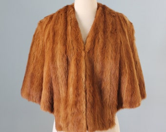 1940s mink stole / 40s brown mink shawl / Agnes Fur Shoppe Detroit