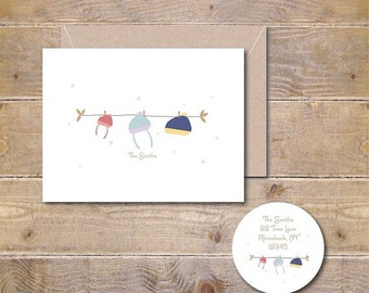 Christmas Cards, Holiday Cards, Christmas Card Set, Winter Hats, Clothesline, Handmade, Holiday Greetings