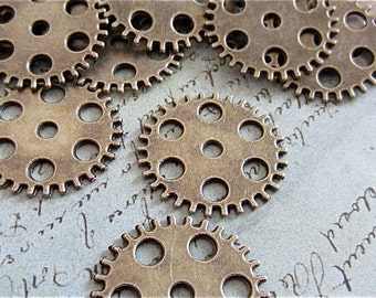 Large Gears - Antique Bronze flat round seven hole gear, cog, - 6 in a lot