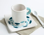 ceramic espresso set - abstract flower in dark teal and robins egg blue - espresso cup and saucer