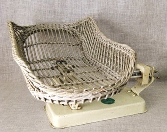 Antique Baby Scale, Wicker Basket, Measure, Infant, Weight Measuring, Cream, Decorative, Large, Metal, Woven, Childs