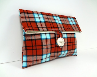 READY TO SHIP Rust Orange and Turquoise Plaid Makeup Bag Bridesmaid Clutch Fall Wedding Foldover Cosmetic Bag