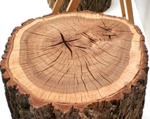 Bark-On Tree Stump Rolling Casters Table Side End Coffee Sofa Foot Stool