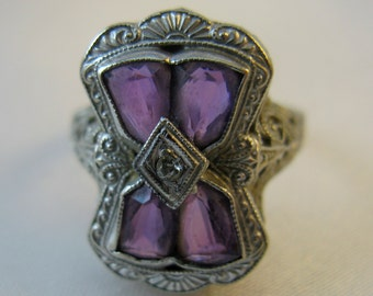Vintage Art Nouveau Edwardian Amethyst & Diamond  Silver Filigree Ring, FREE  SHIPPING in US
