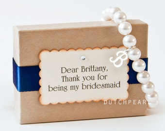 9 SETS - LARGE PEARLS 8mm Personalized pearl bracelet with sterling silver letter charm gift - will you be my bridesmaid  bridesmaid gifts