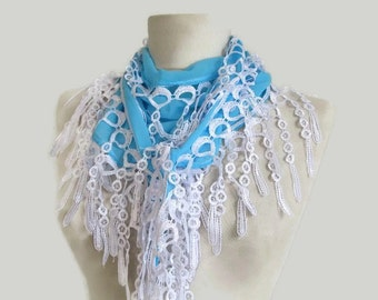 chiffon scarf - blue women accessory - lace scarves - blue long scarf - fringed scarves - aqua blue scarves