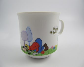 Vintage Walt Disney Goofy with Bees Mug Japan Ceramic, Child's China Cup
