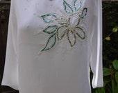 Vintage White Sheer Glitter Embellished Camisole