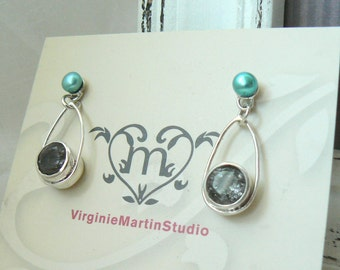 Sterling silver Earrings with Rutile Quartz and Turquoise Freshwater Pearls - READY TO SHIP