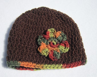 Baby Girl Cap, Brown Beanie with Fall Colored Flower, MADE TO ORDER, Photo Prop, Infant Home from Hospital Hat, Doll and Me Hat for Fall