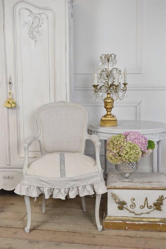 Antique french chair w slip cover by fullbloomcottage on etsy