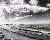 Fine Art photography, Venice Beach, California, Los Angeles, empty beach, black and white, drama, 8x12, waves