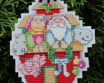 Completed Cross Stitch Ornament - Noah's Ark