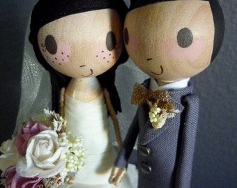 Wedding Cake Topper with Custom Wedding Dress (NEW EYE OPTION) - Custom Keepsake by MilkTea