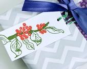 Letterpress Xmas Gift Tags 8pk - Poinsettia Berries