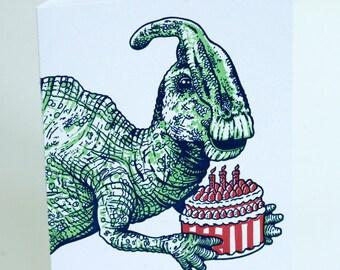 SALE - Happy Birthday Letterpress card - Dino Cake - 60% off
