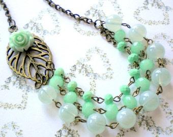 Mint Green Necklace Flower Necklace Summer Wedding Jewelry Rose Statement Necklace Green Bib Necklace Mint Green Bridesmaid Necklace