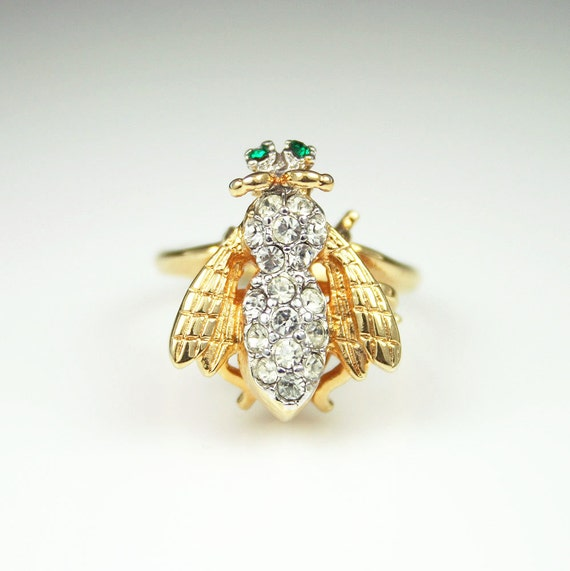 vintage 18k hge gold rhinestone bee bug ring