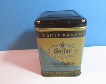 vintage haller edel-kakao tobacco tin with hinged lid