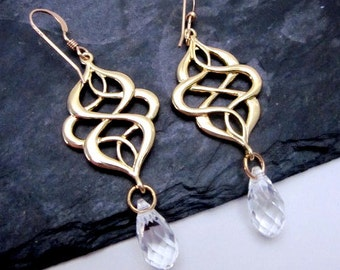 Gold Filigree Drop Earrings -- Crystal Dangle Earrings -- Gold Infinity Earrings -- Modern Jewelry