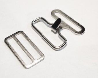 BOW TIE HARDWARE Bowtie Hardware 24 Sets Silver / Nickel Bowtie  Necktie Clips Hook Eye Slide 3/4 Inch