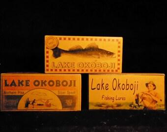 Lake Okoboji Iowa lake house fishing cabin decor lure boxes