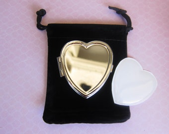 Blank Heart Shaped Pill Box Container w/velvet pouch and resin sticker CLEARANCE SALE