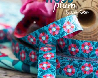 "Jacquard Ribbon Trim ""Carlitos WOOD, plum"" by Lila-Lotta Design, 1 meter"