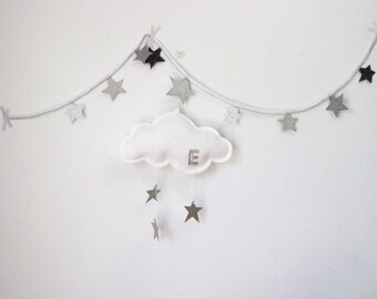 Large Personalized Wall Hung Star Cloud - nursery decor in metallic gold or silver and white felt- Free US Shipping