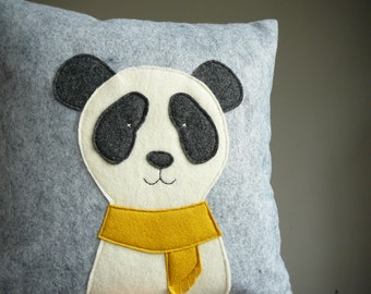 Panda Pillow - Pillow Cover - Decorative Pillow - Nursery - Panda - Grey