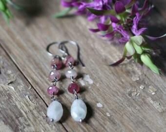 Pink Tourmaline Earrings, Moonstone Earrings, Dangle Earrings