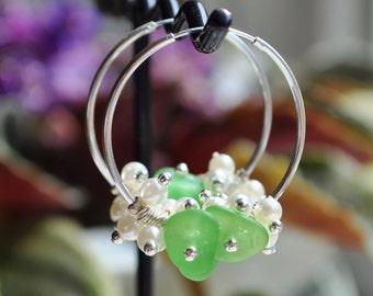 Sea Glass Jewelry Beach Earrings Green 30mm Hoops Sterling with Pearls 5708