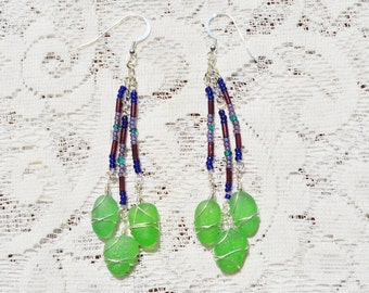 Sea Glass Jewelry Beach Triple Drops in Green and Multi Colored Beads 4461C