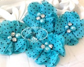 NEW: 4 pcs Aubrey TURQUOISE Polka Dots Patterned - Soft Chiffon with pearls and rhinestones Layered Small Fabric Flowers, Hair accessories