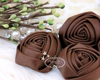 Sierra: 4pcs DARK BROWN - 50mm Adorable Rolled Satin Rose Rosettes Fabric flowers. Hair Accessories. Fascinator. Silk Rose Rosette Flowers.